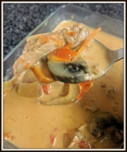 Chicken and Vegetables with Red Curry and Coconut Milk Sauce